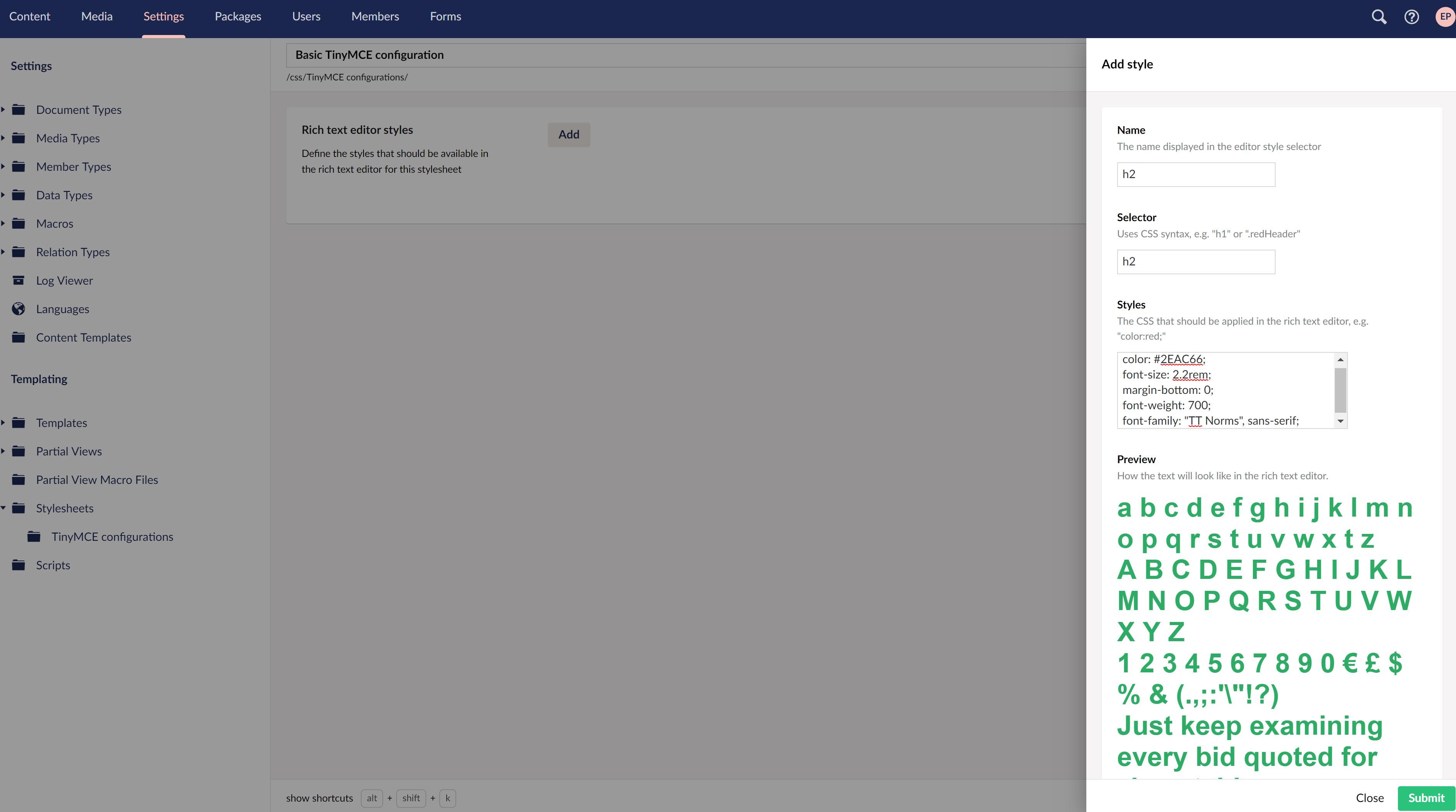 Configure custom TinyMCE settings in Umbraco 8